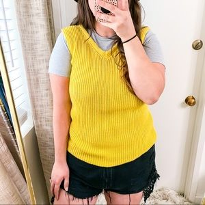 Ann Taylor Factory Yellow Ribbed Knit Sweater Vest Sz XL